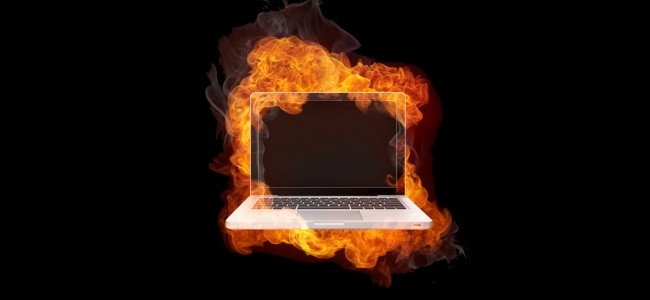 Laptop in Fire